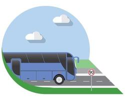 Flat design vector illustration city Transportation, Bus, intercity, long distance tourist coach bus, side view icon