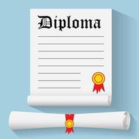 Flat design modern vector illustration of Degree Scroll with Red Ribbon and Diploma, on color background