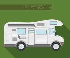 Flat design vector illustration city Transportation, RV for travel and camping, side view