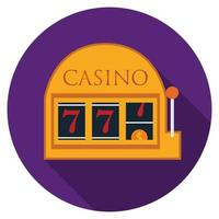 Flat design vector slot machine icon with long shadow, isolated