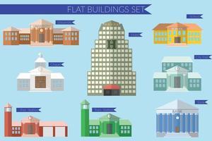 Flat design vector illustration concept for building education icons set. University fire station, bank, city hall, school