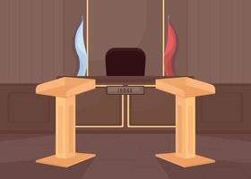 Empty court room flat color vector illustration