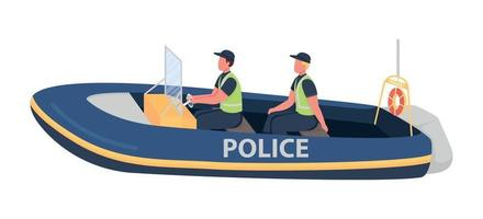 Water police flat color vector faceless characters