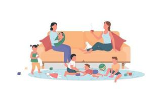 Two mothers with children rest at home flat color vector faceless characters