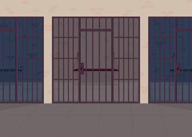 Jail flat color vector illustration