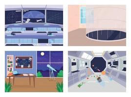 Different space exploration facilities flat color vector illustration set