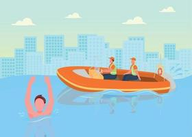 Coast guards flat color vector illustration