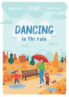 Dancing in rain poster flat vector template