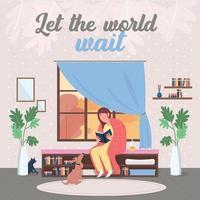 Relaxation at home social media post mockup vector