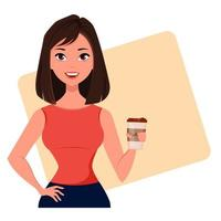 Young cartoon businesswoman with coffee vector