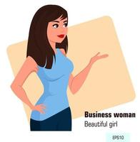 Young cartoon business woman in office style clothes showing something vector