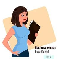 Young cartoon business woman with file in left hand vector