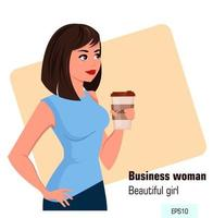 Young cartoon business woman in office style clothes holding hot coffee while coffee break vector