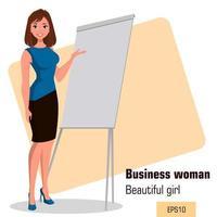 Beautiful girl presenting business plan vector