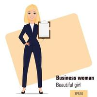 Beautiful blonde girl in office clothes showing checklist while presentation vector