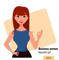 Young cartoon businesswoman with red hair showing OK gesture vector