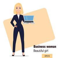 Young cartoon businesswoman standing vector