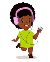 Little African girl running and listening to the music vector