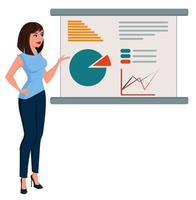 Young cartoon business woman in office clothes standing near board with infographic vector