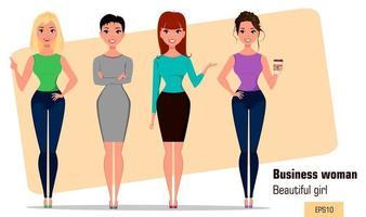 Four young cartoon businesswomen vector