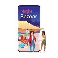 Night bazaar cartoon smartphone vector app screen