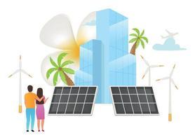 Alternative energy sources flat vector illustration