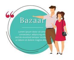 Bazaar buyers flat color vector character quote
