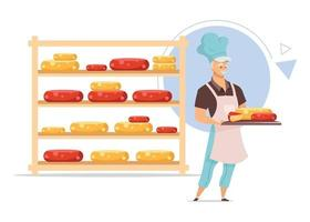 Cheesemaker with tray flat color vector illustration