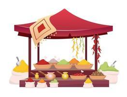 Indian bazaar tent with spices cartoon vector illustration