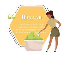Indian bazaar buyer flat color vector character quote