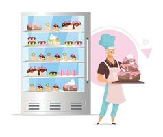 Confectionery shop showcase flat color vector illustration