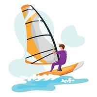 Windsurfing flat vector illustration