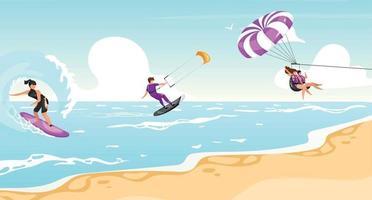 Water sports flat vector illustration
