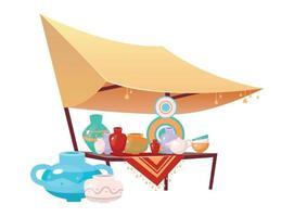 Bazaar awning with handmade pottery cartoon vector illustration