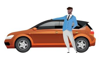 Man standing by hatchback flat color vector faceless character
