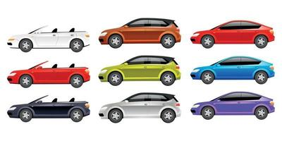 Cars flat color vector objects set