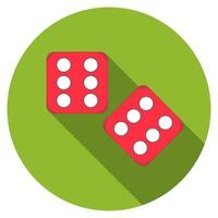 Flat design vector dice icon with long shadow, isolated