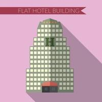 Flat design modern vector illustration of hotel building icon, with long shadow on color background