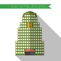 Flat design modern vector illustration of hotel building icon, with long shadow