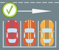 Ilustración de vector moderno de diseño plano de instrucciones de estacionamiento de un automóvil