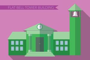 Flat design modern vector illustration of building with bell tower icon, with long shadow on color background