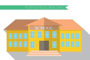 Flat design modern vector illustration of school building icon set, with long shadow