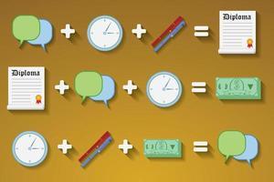 Flat design vector illustration concept of diploma cash, time. Concepts formulas deferrent results