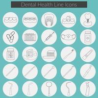 vector de iconos de línea de cuidado dental con hilo dental, dientes, boca, pasta de dientes y cepillo, medicina, jeringa e instrumentos de dentista.