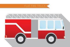 Flat design vector illustration city Transportation, fire truck, side view