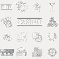 iconos de línea de casino y juegos de azar con máquinas tragamonedas y ruleta, fichas, cartas de póquer, dinero, dados, monedas, ilustración de vector de diseño plano de herradura