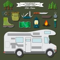 Flat design modern vector illustration of travel and vacation set. Camping and hiking equipment items, car RV, knife and backpack, hiking boots, lantern and bonfire, map and compass, trees and flashlight