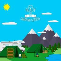 City and Mountains with forest and lake landscape flat vector illustration, concept for holiday and vacation, camping and hiking, outdoor adventure, with recreation place, tents raft and RV