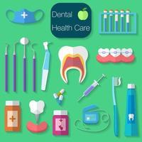 Ilustración de vector de diseño plano de cuidado dental con hilo dental, dientes, boca, pasta de dientes y cepillo, medicina, jeringa e instrumentos de dentista.