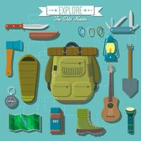 Flat design modern vector illustration of camping and hiking equipment set. Travel and vacation items, knife and axe, backpack and hiking boots, lantern and guitar, sleeping bag, map and compass
